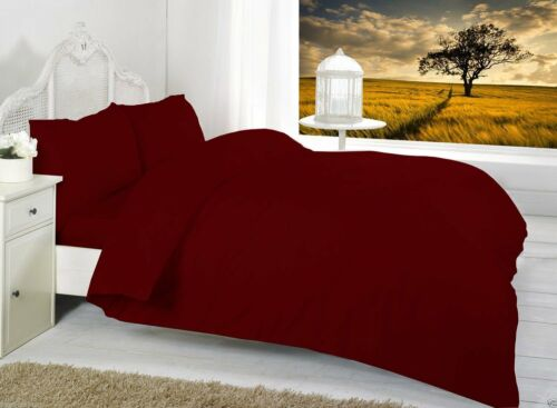 Plain Dyed Duvet Quilt Cover Set PillowCases Or Fitted Sheet Single Double King