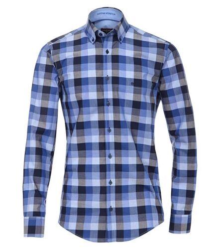 Casa Moda Club Messieurs baumwollstretch Chemise Manches Longues Casual Fit Bleu à Carreaux M-xxx