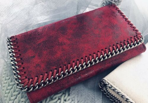 BNWT LAST ONE Blood Red Stella McCartney Inspired Fold Over Chain Detail Purse