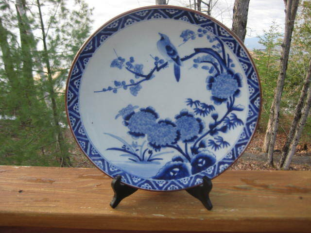 ANTIQUE JAPANESE BLUE & WHITE MEIJI PERIOD CHARGER / PLATTER 12 1/4