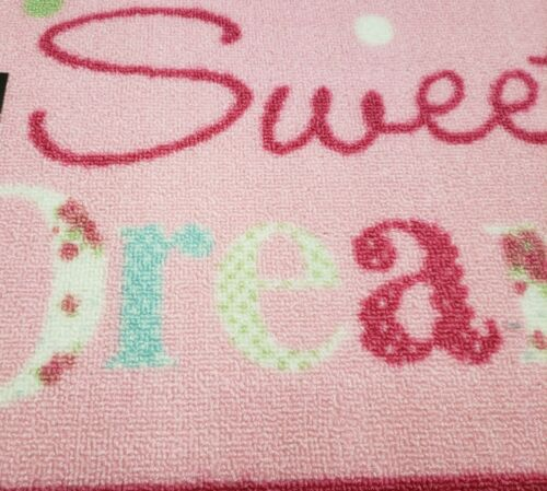 "16/""x24/"" SWEET DREAMS ON PINK nonskid EHF rec PRINTED NYLON KITCHEN RUG"