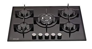 MILLAR-GH7051PB-5-Burner-Built-in-Gas-on-Glass-Hob-70cm-Cast-Iron-Stands-amp-Wok