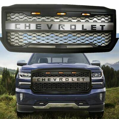 Black Front Hood Grille 2016 2017 2018 Chevrolet Silverado 1500 Honeycomb Led Up Ebay