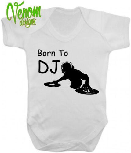Né pour être un dj musique baby body grow gilet fille garçon vêtements cadeau ange dance