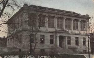 Carnegie-Library-Mattoon-Illinois-1908-Vintage-Postcard-Antique