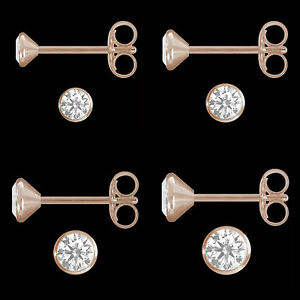 1-Paar-Ohrstecker-echt-925-Silber-Rose-Gold-Vergoldet-Solitaer-Zirkonia-Ohrringe