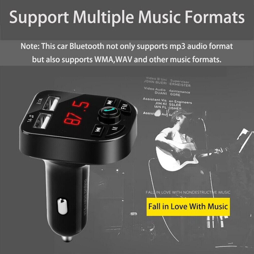 Bluetooth 5.0 Wireless FM Transmitter Car Audio MP3 Player Dual USB Charger Kit 5