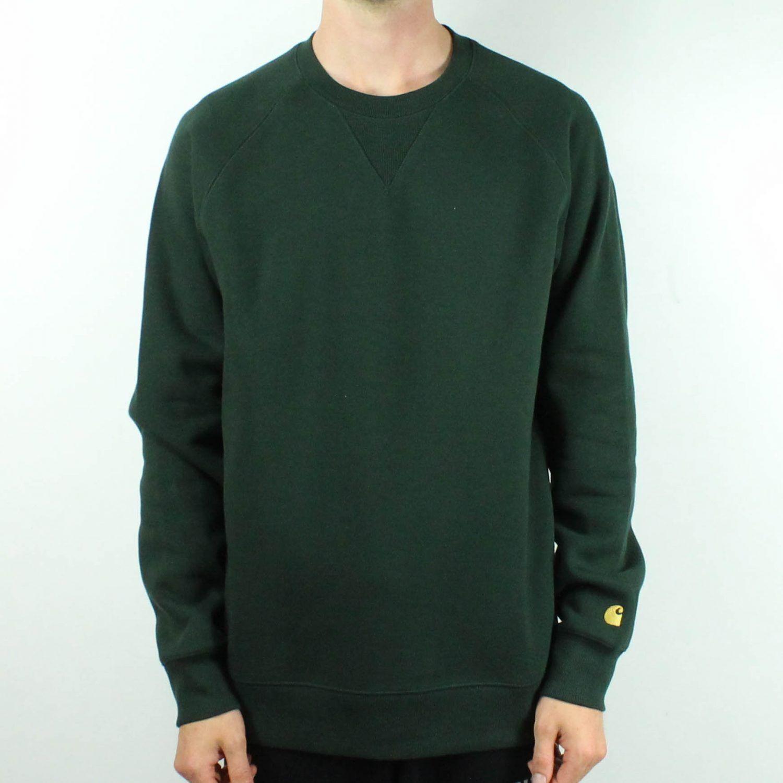 Carhartt Chase Sweatshirt Pullover Jumper in Loden Grün/Gold in Größes S,M,L