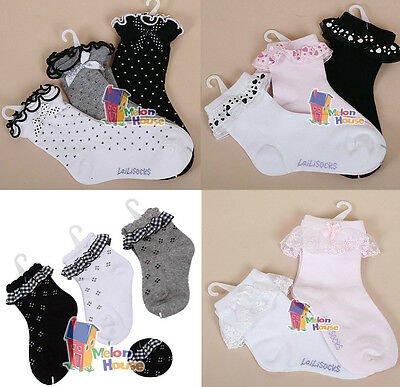 Baby Girls Toddler Lovely Lace Ruffle Frilly Cotton Ankle Socks 2-12yrs 4 Styles