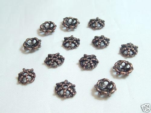40 pièces filigrane Coppertone beadcaps Aa910ct