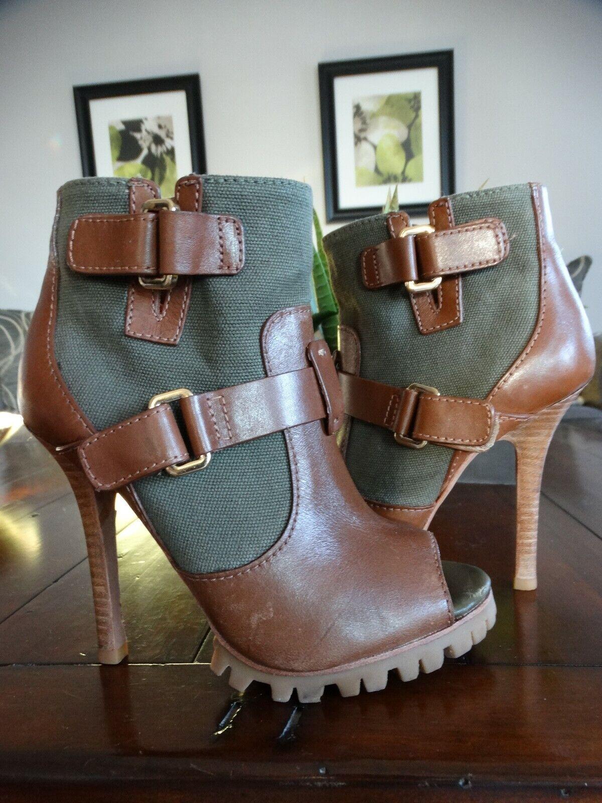 TORY BURCH Oren Open toe Leather & Canvas Bootie 5.5