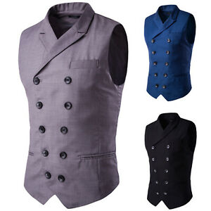 Mens Business Formal Suit Vest Slim Fit Tuxedo Waistcoat Double Breasted Coat US