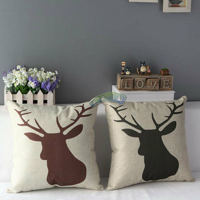 Cotton & Linen Pillow Case Deer Print Throw Back Cushion Cover Home Decorative