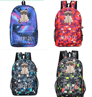 New Grumpy Cat Casual Laptop Backpack Funny Kitty Galaxy School Bag