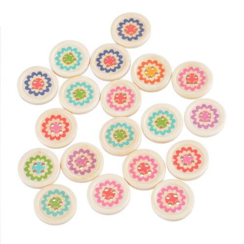 150 Mix Holzknöpfe Wood Buttons Blume Nähen Basteln Knopf Trachtenknöpfe 20mm