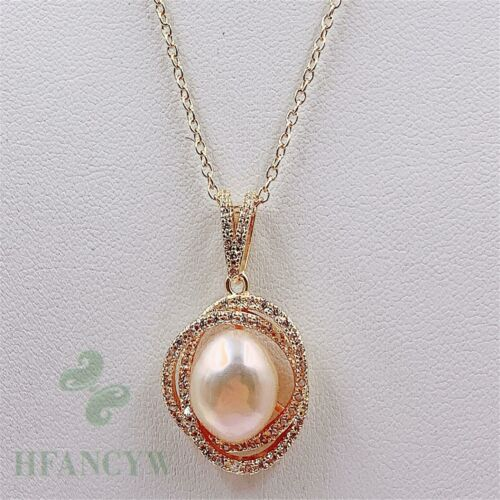 11x12mm Pink Baroque Pearl Rhinestone Pendant 18 inches Necklace handmade