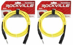 4 Rockville RCXMB3-G Green 3/' Male REAN XLR to 1//4/'/' TRS Balanced Cables