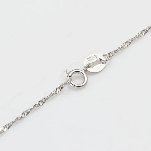 15.7 inch AU750 Pure Fine  18K White Gold 1mm W Singapore Chain Necklace// 1.1g