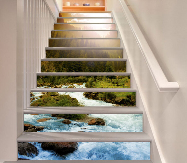 3D River Forest Sky Stair Risers Decoration Photo Mural Vinyl Decal Wallpaper CA