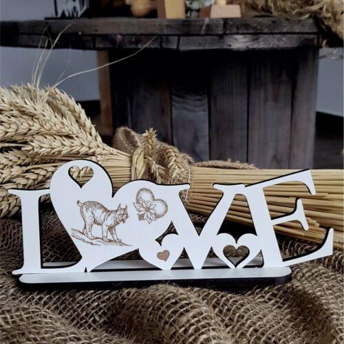 Deko Aufsteller LOVE « LUCHS » Schild Liebe Herz Herzen Katzen Großkatze Lynx