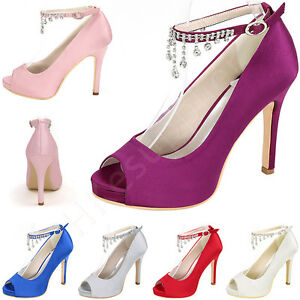 womens-Shoes-Peep-Toe-Ankle-Strap-Sandals-High-Heels-Satin-Crystal-Wedding-Party