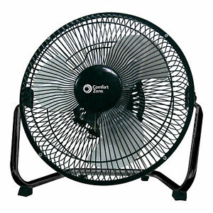 Comfort Zone 9 Inch 3 Speed Portable High Velocity Air Cooling Floor Fan, Black