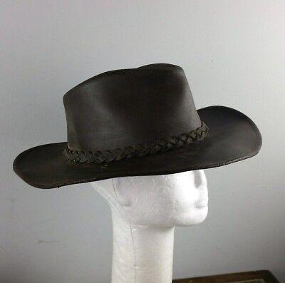 Aussie Brown Leather Bush Hat Cowboy Hat Medium 58cm