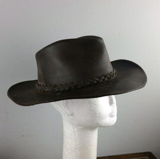 Henshel H1H Brown Leather Medium Bush Mens Aussie Cowboy Hat  fa1c383afa1b