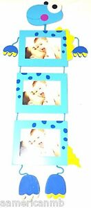 Blue Yellow Dino Dinosaur 3 Hanging Wooden Photo Frames Nursery Baby Picture