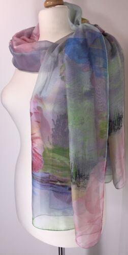 NEW Silk Floral Scarf Pashmina Grey Pinks Oversized Floaty Silky Softest Feel