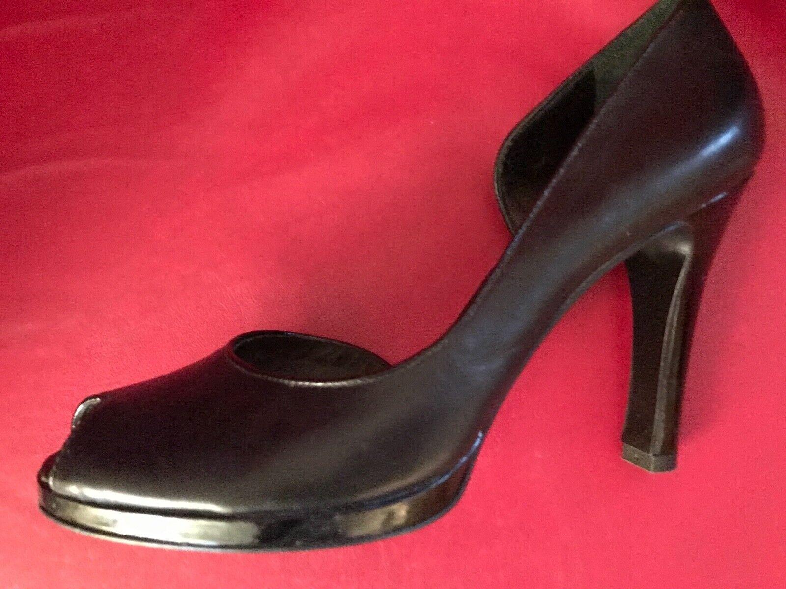Lauren Ralph Lauren woman's open 8B pumps genuine Leder schwarz open woman's toe 4
