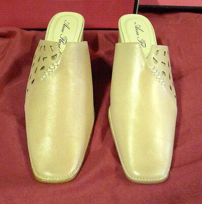 Damenschuhe Schuhe Pumps Pantoletten Gr. 38 beige hellbraun echtes Leder