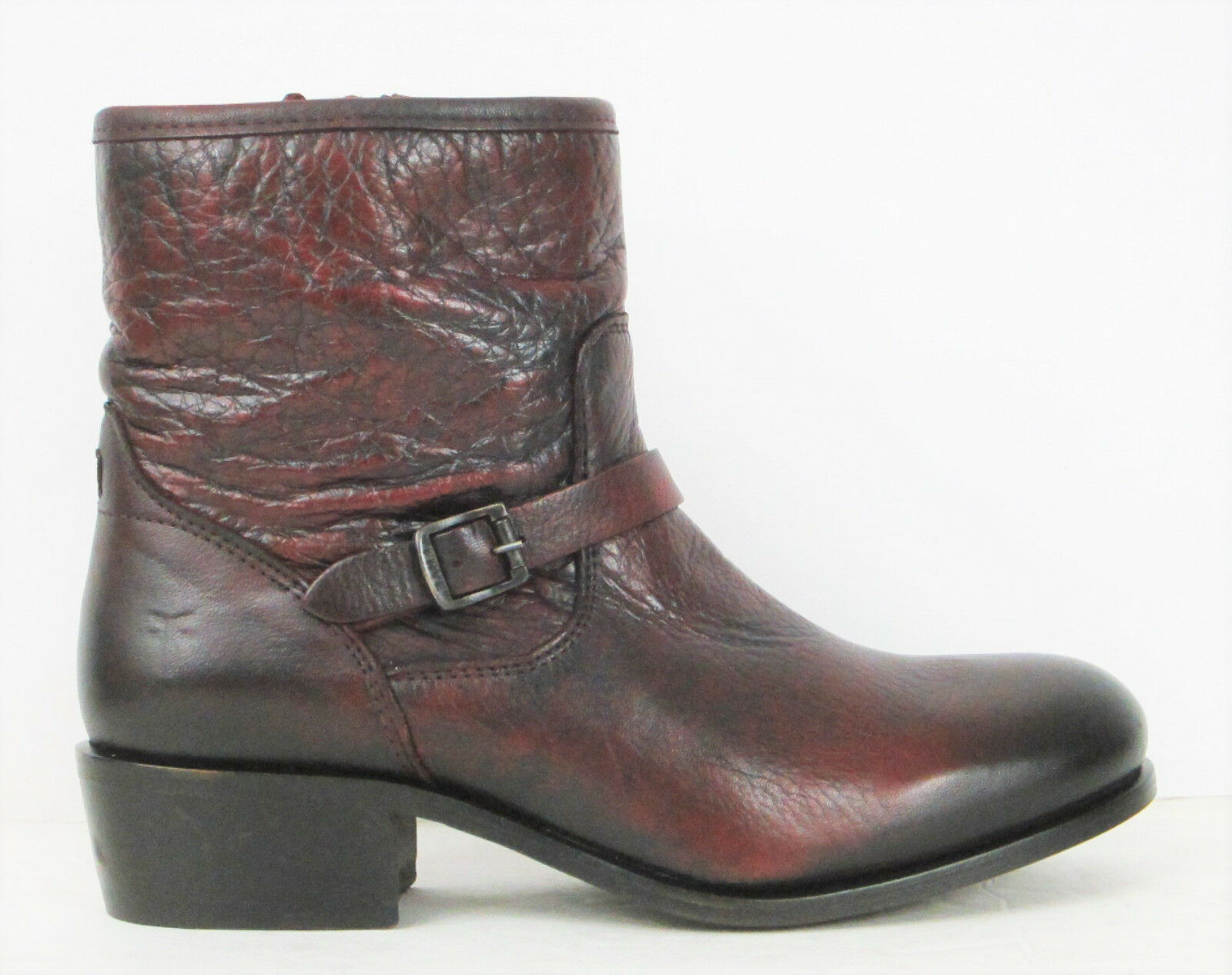 FRYE BOOTS Lynn Strap Short Burnt Red Leather Boots 76104 SZ 7.5 $318