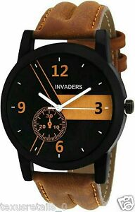 Invaders INV-ESPR-BRN Highest selling trendy casual black dial mens watch