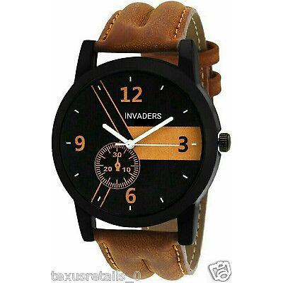 Invaders INV-ESPR-BRN Highest selling trendy casual black dial mens watch