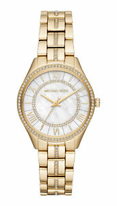 2a60ff069 Michael Kors Mini Lauryn Pavé 33 mm Stainless Steel Case Women's Gold-Tone  Wrist Watch, White Mother of Pearl Dial - (MK3899)