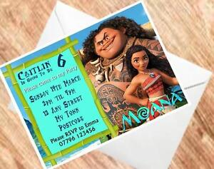Image Is Loading Moana Birthday Invitations Personalised Party Invites 250GSM Card