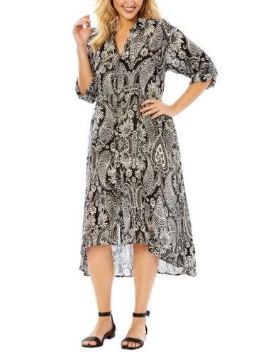 56 58 62 #13 Crinkle vestito estate abito da sera Roamans Nero-Con Motivo Tg