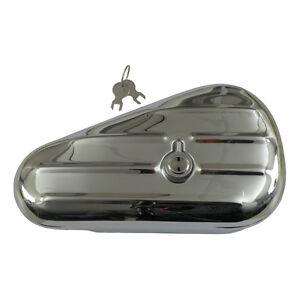 Verchromte-Teardrop-Toolbox-Werkzeugbox-rechts-fuer-Harley-ersetzt-OEM-64205-40