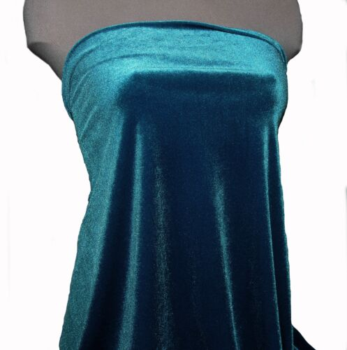 """VELVET 4 WAY STRETCH FABRIC DEEP TURQUOISE 58/"""" BTY  FORMAL COSTUME PAGEANT"""