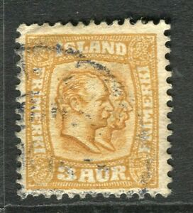 ICELAND-1907-early-Double-Head-issue-fine-used-3a-value