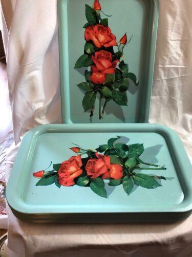 Vintage TURQUOISE Tin Metal Red ROSE Flower RECTANGULAR Serving TRAY