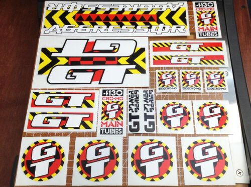 Red Black Yellow /& White 1990 GT BMX Aggressor restoration decal set on clear