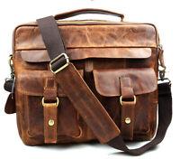 Men Genuine Italian Leather Briefcase Shoulder Messenger Bookbag Document Bag
