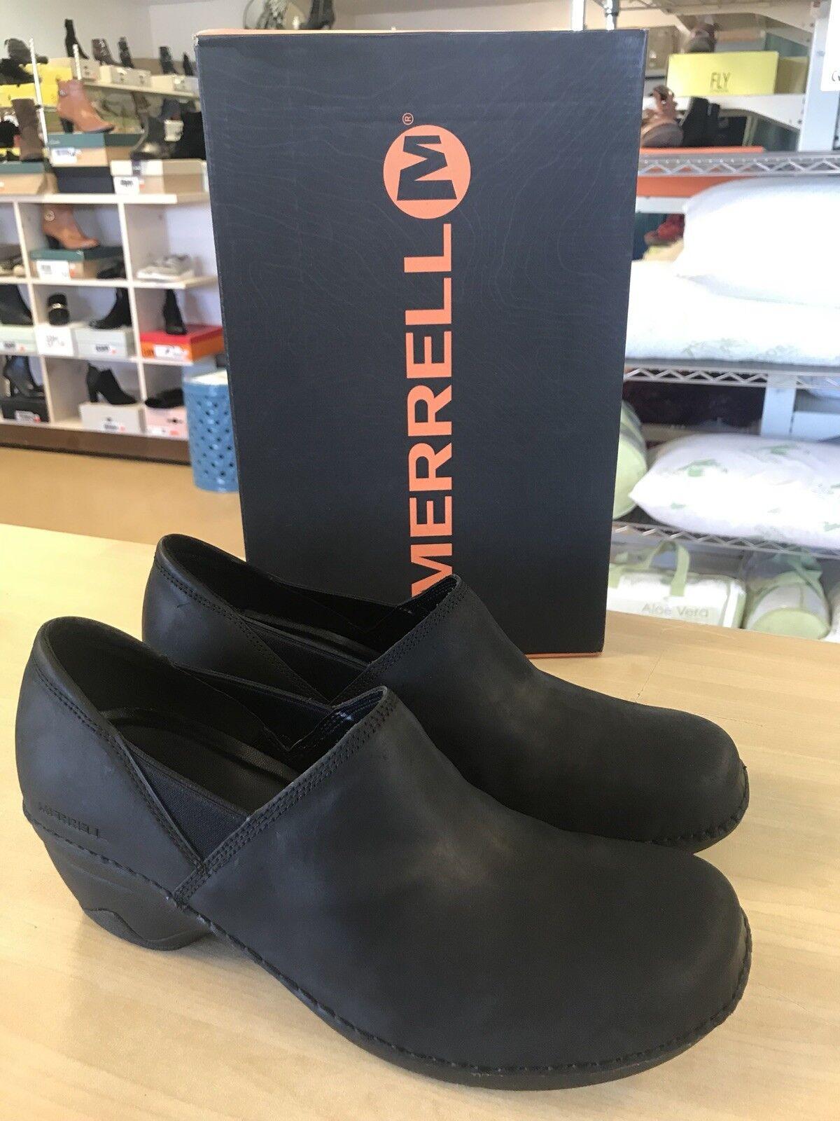 Merrell Emma Emma Emma Water Resistant Black Leather Slip-On shoes - Women's 11 Medium 43c83f