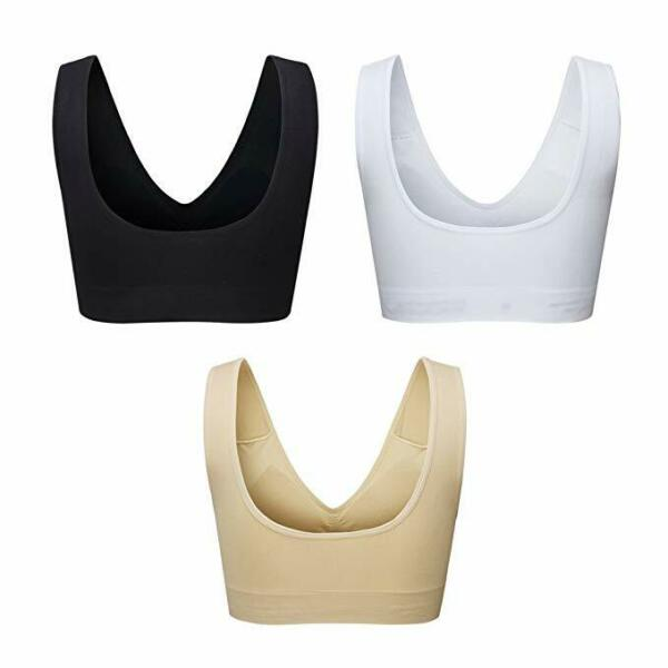 3er/set Seamless Sport BH Push Up Racerback Yoga Paded Bustier Top Sport Bra DE