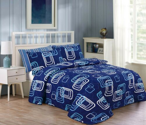 3 Piece Bedspread Printed Patchwork Comforter Bed throw Bed Quilt Vintage Set
