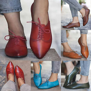 Women-Lace-Up-Casual-Shoes-WingTip-Brogues-Oxfords-Dress-Formal-Stitched-Flats