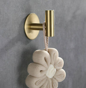 Brushed-Gold-Stainless-Steel-3M-Self-Adhesive-Hook-Rack-Bathroom-Towel-Hanger