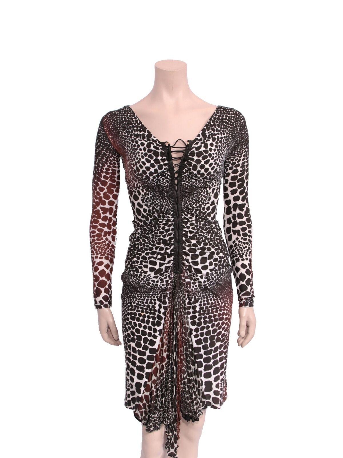 ROBERTO CAVALLI Printed Lace-Up Dress (SIZE XS)